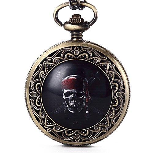 Gorben Reloj de bolsillo, diseño steampunk de calavera tallada, con cadena, mecanismo de cuarzo japonés, pirata, Estándar