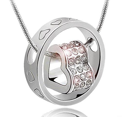 korpikus® Silber Farbe Metall Jeweled Herzen gravierte Ring Halskette weißer Organza-Geschenk-Beutel