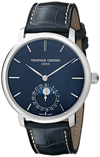 Frederique Constant Slim Line Moonphase FC705N4S6 42mm Automatic Stainless Steel Case Blue Leather Anti-Reflective Sapphire Men's Watch