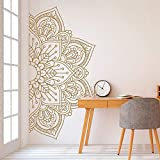 Mandala in Half Wall Sticker Home Decor Living Room Removable Vinyl Stickers for Meditation Yoga Wall Art Decals Mural d1 84x42cm