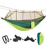 ATLES Hamac confortable - 2 personnes en hamac à haute résistance en parachute avec filet de moustiquaire pour camping extérieur, jardin à napper (55'' x 102''(140 x 260cm), Vert clair-vert foncé)