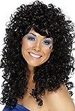 SMIFFYS Smiffy's Parrucca da pupa Discoteca, Nera, Lunga, riccia Donna, Nero, Taglia unica, 42064