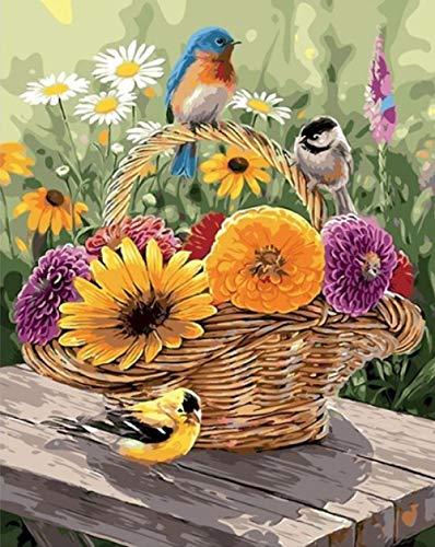 WXLZY DIY Malen nach Zahlen Blumenkorb Geeignet Erwachsene Anfänger Kinder, Neue kreative Digitale Malerei Leinwand Kunstwerk Dekoration 16x20Zoll