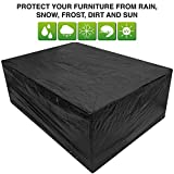 Black Large Patio Set/Oval/Rectangle Table Cover Garden Outdoor Furniture Cover 2.8 m x 2.06 m x 1.08 m/9.2 ft x 6.75 ft x 3.5 ft