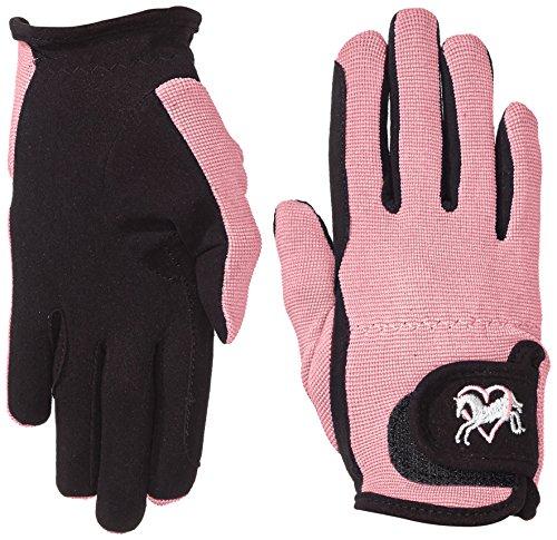 Riders Trend Damen Reiter Handschuhe Reithandschuhe Amara Palm mit Elastan-Material Atmungsaktive, Black/Pink, cm