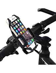 Support Telephone Vélo, Bukm Universel Ajustable Support Guidon de vélo, 1 Bande de Silicone, Rotation de 360 Degrés Support Telephone Moto pour Mobile Phone GPS, iPhone 7/6 Plus/6S/6/5S/, Samsung Galaxy S6 / 5/4/3 etc