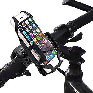 Support Telephone Vélo, Bukm Universel Ajustable Support Guidon de vélo, 1 Bande de Silicone, Rotation de 360 Degrés Support Telephone Moto pour Mobile Phone GPS, iPhone 7/6 Plus/6S/6/5S/, Samsung Galaxy S6 / 5/4/3 etc