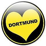Kühlschrankmagnet Stadt Dortmund mit Herz schwarz gelb - Fan Magnet rund 5 cm groß Städte Orte Reise Souvenir