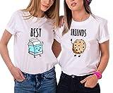 Ziwater Best Friends Tshirt Für 2 Mädchen mit Aufdruck Passende Kurzarm Damen von (Milch-S+Gebäck-S, Weiß)