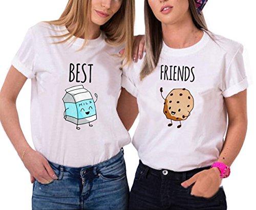 *Best Friends Tshirt Für 2 Mädchen mit Aufdruck Milch und Gebäck Lustige Passende Kurzarm Damen von ZIWATER (Milch-M+Gebäck-M, Weiß)*