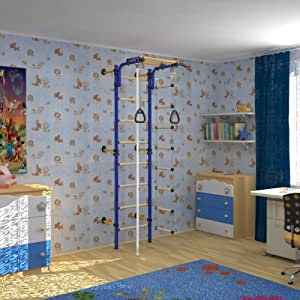 indoor kletterger st f r kinder sprossenwand kletterwand f r kinderzimmer farbe blau. Black Bedroom Furniture Sets. Home Design Ideas