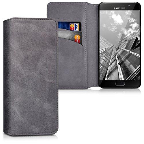 kalibri-Echtleder-Tasche-Hlle-fr-Samsung-Galaxy-A5-Version-2016-Case-mit-Fchern-und-Stnder-in-Dunkelgrau