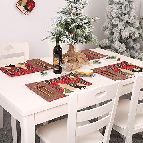 Muzhilli3 Weihnachtsdekoration, Weihnachten Plaid Tree Elk Pattern Tischset Pad Tischset Home Dining Decoration - Küche Plaid Vorhänge