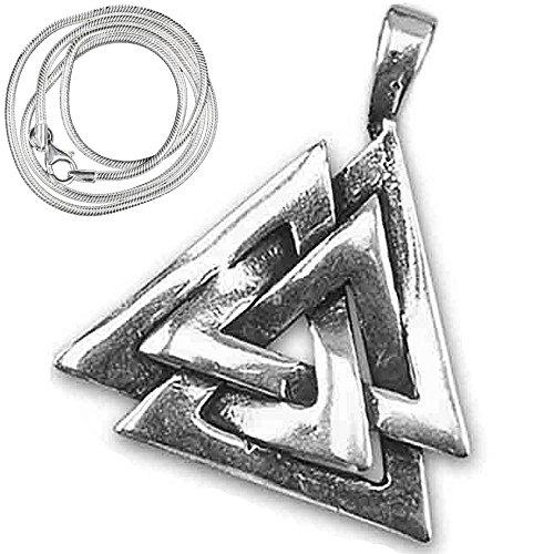 Wikinger Anhänger Wotansknoten Keltischer 925er Silber Schmuck mit 1,2mm Schlangenkette 45 cm Halskette