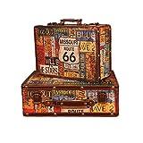 Valigia decorativo Set di 2 legno Keepsake Valigia bagagli Tronco Petto scatola dell'organizzatore antico di legno portatile visualizzazione della casella Puntelli Fotografia Baule del tesoro