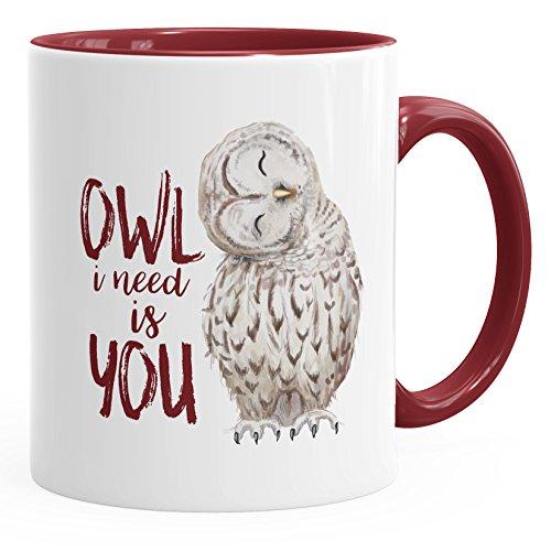 MoonWorks Kaffee-Tasse Eule Owl I Need is You Liebe Spruch Geschenk Valentinstag Weihnachten Ehe Partnerschaft Bordeauxrot Unisize