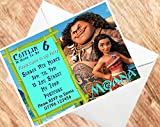 Moana Birthday Invitations Personalised Party Invites 250GSM Card(A5 15) - oneoffboutique - amazon.co.uk