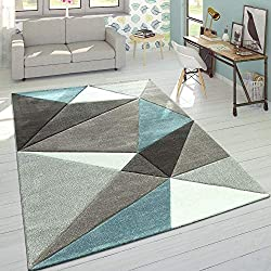 Paco Home Tapis 3D Triangles Pastel Tendance Gris Turquoise, Dimension:200x290 cm