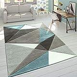 Paco Home Tappeto 3D Triangoli Pastello Trend Grigio Turchese, Dimensione:80x150 cm