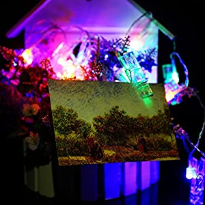 K-Bright Creative Hang Card Photo Wall Room Decoration clip fairy lights,20 Chips LED 2.2Meter/ 7.2ft,IP44 Photo Clip String Lights Home Christmas Decoration Battery Operated Lamps 2 Lighting Models by K-Bright