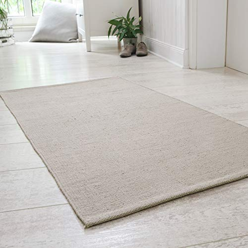 Onloom Alfombra Milo Tejida a Mano, 100% algodón, Lavable a 30°C, Farbe:Gris, Größe:60x120cm