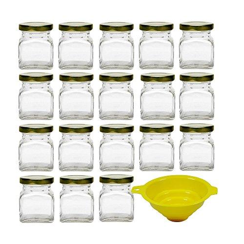 Viva-Haushaltswaren - 18 kleine quadratische Marmeladengläser 120 ml mit Schraubverschluss inklusive einem gelben Einfülltrichter