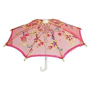 sourcingmap® , Fuchsia, Sticken, Blumenmuster, Spitze, Mini Regenschirm