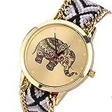 Reloj de pulsera Winwintom con diseño de elefante, correa negra