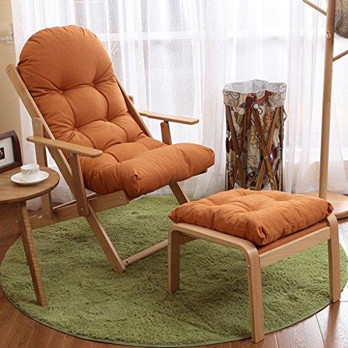 Sedie da giardino reclinabili con poggiapiedi e cuscini sedia da campeggio portatile da campeggio in legno a gravità a gravità zero all'aperto, 100kg (colore : arancia)
