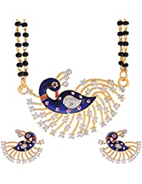 Zeneme Dancing Peacock American Diamond Gold Plated Mangalsutra with Chain for Women