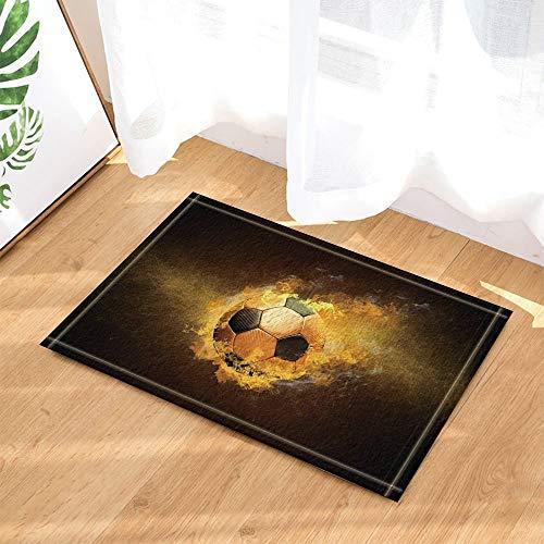 fdswdfg221 Burnning Fußball in Schwarz Dekor Badteppiche für Badezimmer Rutschfeste Bodeneingänge Outdoor Indoor Haustürmatte Kinder Badematte