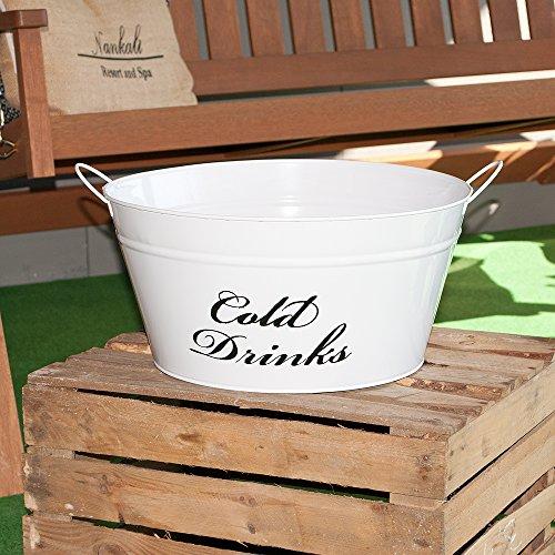 Getränkekühler COLD DRINKS Weiß Wanne Eiswanne Eis Eimer Flaschenkühler Eiskübel