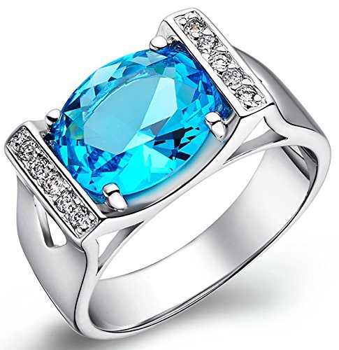 SaySure - 925 Silver Ring Ladies Rings Amethyst Big Rings For Women (SIZE : 9)