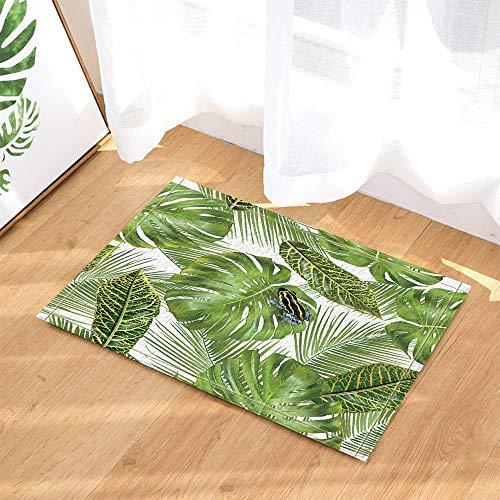 Palm Blätter Teppich (SRJ2018 Tropische hawaiianische exotische Pflanzen Dekor Frosch auf Monstera und Palm Blätter Bad Teppiche Rutschfeste Fußmatte Indoor 60X40CM)
