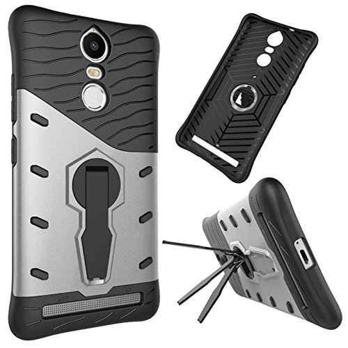 Für Lenovo K5 Note Armor Cover, 2 In 1 Durable TPU + PC Heavy Duty 360 ° Drehbarer Stand Dual Layer Shockproof Case Cover ( Color : Black ) Silver