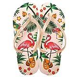 G-Kids Damen Mädchen Fashion Flamingos Zehentrenner Anti-Rutsch Flip Flops Hausschuhe Sandalen Beige EU 35