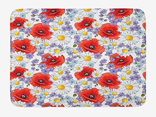 OQUYCZ Flower Bath Mat, Purple Flowers Poppy and Daisy Summer Nature Wildflowers Graphic, Plush Bathroom Decor Mat with Non Slip Backing, 23.6 W X 15.7 W inches, Scarlet White and Lavander