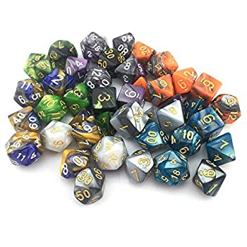 Smartdealspro 6 X 7 Sets(42 Pieces) New Arrival Two Colors Polyhedral Dice With Free Pouches For Dungeons & Dragons Dnd Rpg Mtg Table Games D4 D8 D10 D12 D20 (6-colors Set 2) 2