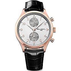 Ysora - Gold Dial Pink Leather Strap Chrono Men's watch William L. wlor02gocn Steel - 4 cm