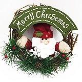 YEMOCILE Artificielle Merry Christmas Père Noël Bonhomme de Neige Couronne Décor Décoration Intérieur Extérieur 20cm-22cm Santa1