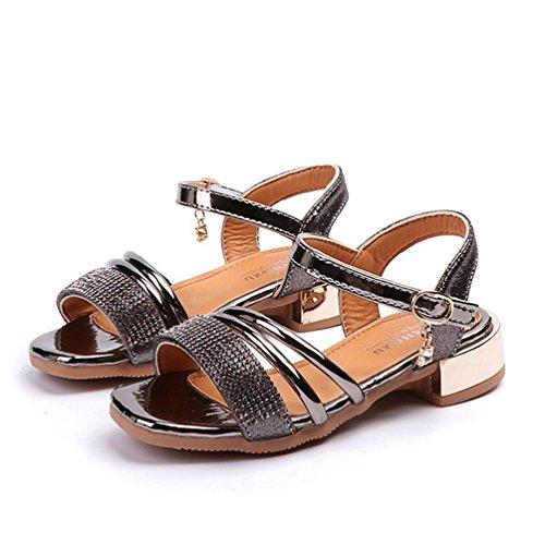 Mädchen Open Toe Strap Sandalen Metallic Sommer Low Heel Prinzessin Kleid Schuhe (Kleinkind/Kleines Kind) (Kleid Elfenbein Schuhe Kleinkind)