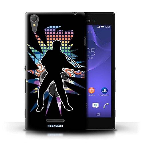 Kobalt® Imprimé Etui / Coque pour Sony Xperia T3 / Rock Dame Blanc conception / Série Rock Star Pose Elvis Noir