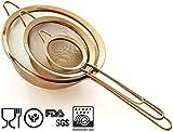 Hochwertig Küchensieb Feinmaschig Set, 8.5/14/20cm - 304 Professionell Edelstahl - Gold Farbe Siebe, Sieb Set für die Küche von Proto Future