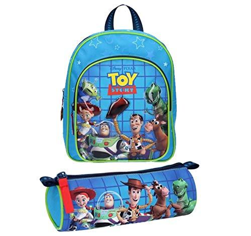 Disney Toy Story Rucksack und Federmäppchen mit Charakteren auf der Tasche wie Woody, Buzz, Jessie, Hamm und Rex.