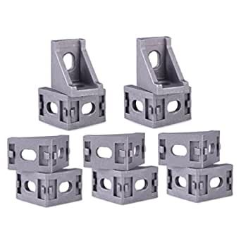 3D Techno Cast Corner Bracket for Aluminium Extrusion Profile with Nut and Bolt (20 mm, Silver) - 10 Pieces