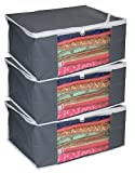 #6: Kuber Industries™ Non Woven Saree Cover/ Saree Bag/ Storage Bag Set Of 3 Pcs (Grey) 9 Inches Height (Code-SCGNW01)