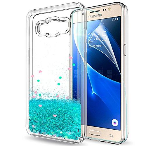 LeYi Coque Galaxy J5 2016 Etui avec Film de Protection écran, Fille Personnalisé Liquide Paillette Transparente 3D Silicone Gel TPU Antichoc Kawaii Housse pour Samsung Galaxy J5 2016 Turquoise
