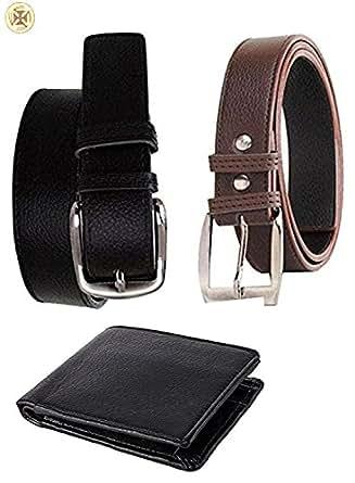 Kesari Men's Synthetic Belt (SDBRN_BLK_BELT_SDBLKWLT_COMBO_Black & Brown_Free Size)(Combo Pack)