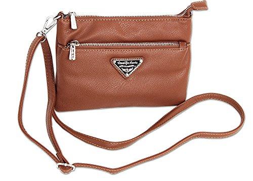 Jennifer Jones Kleine Clutch Damen Handtasche Umhängetasche Schultertasche für Frauen Crossbody Bag   auch als Handgelenk-Tasche tragbar (3430) (Cognac)