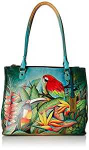 Anuschka Hand Painted Luxury - 549 Large Leather Hand Bag with compartments and laptop pocket (Tropical Bliss)